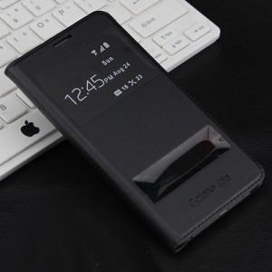 Чехол горизонтальная книжка на пластиковой основе с окном вызова и свайпом для Samsung Galaxy J5 (2016)  Черный