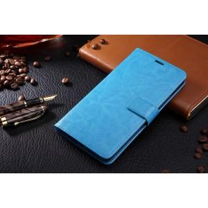 Глянцевый чехол портмоне подставка на магнитной защелке для Samsung Galaxy J5 (2016) Голубой