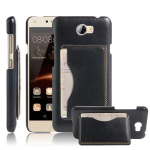 Чехол накладка текстурная отделка Кожа с отсеком для карт и функцией подставки для Huawei Honor 5A/Y5 II Черный