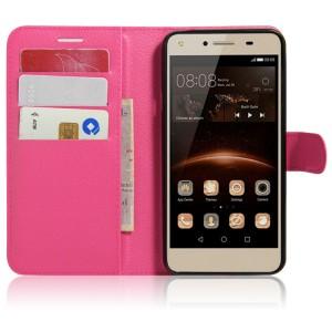Чехол портмоне подставка на магнитной защелке для Huawei Honor 5A/Y5 II Пурпурный