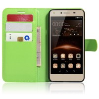 Чехол портмоне подставка на магнитной защелке для Huawei Honor 5A/Y5 II Зеленый