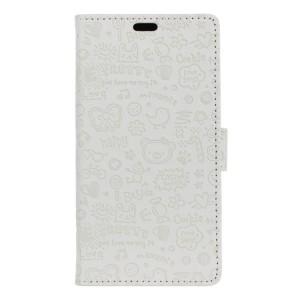 Чехол портмоне подставка текстура Узоры на силиконовой основе на магнитной защелке для Huawei Honor 5A/Y5 II Белый