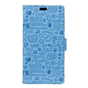 Чехол портмоне подставка текстура Узоры на силиконовой основе на магнитной защелке для Huawei Honor 5A/Y5 II Голубой