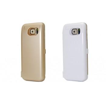 Пластиковый непрозрачный матовый чехол с встроенным аккумулятором 5800 мАч и подставкой для Samsung Galaxy S6