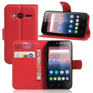 Чехол портмоне подставка на силиконовой основе на магнитной защелке для Alcatel One Touch Pixi 4 (4) Красный