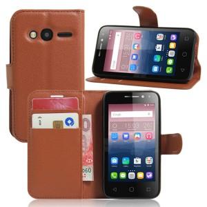 Чехол портмоне подставка на силиконовой основе на магнитной защелке для Alcatel One Touch Pixi 4 (4) Коричневый