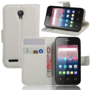 Чехол портмоне подставка на силиконовой основе на магнитной защелке для Alcatel One Touch Pixi 4 (3.5) Белый
