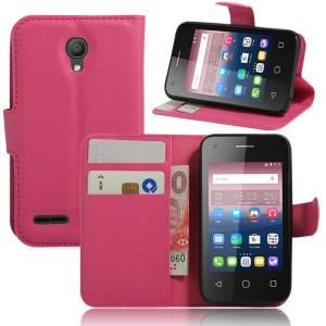 Чехол портмоне подставка на силиконовой основе на магнитной защелке для Alcatel One Touch Pixi 4 (3.5) Пурпурный