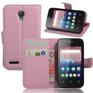 Чехол портмоне подставка на силиконовой основе на магнитной защелке для Alcatel One Touch Pixi 4 (3.5) Розовый