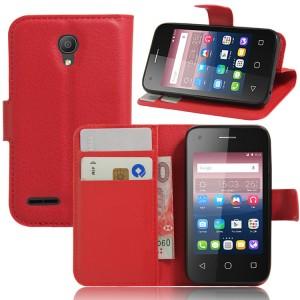 Чехол портмоне подставка на силиконовой основе на магнитной защелке для Alcatel One Touch Pixi 4 (3.5) Красный