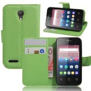 Чехол портмоне подставка на силиконовой основе на магнитной защелке для Alcatel One Touch Pixi 4 (3.5) Зеленый