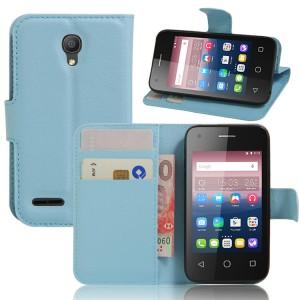 Чехол портмоне подставка на силиконовой основе на магнитной защелке для Alcatel One Touch Pixi 4 (3.5) Голубой