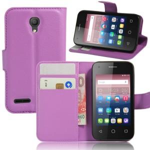 Чехол портмоне подставка на силиконовой основе на магнитной защелке для Alcatel One Touch Pixi 4 (3.5) Фиолетовый