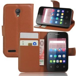 Чехол портмоне подставка на силиконовой основе на магнитной защелке для Alcatel One Touch Pixi 4 (3.5) Коричневый