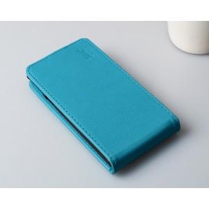 Чехол вертикальная книжка на пластиковой основе на магнитной защелке для Alcatel One Touch Idol  Голубой