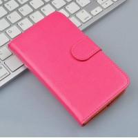 Чехол портмоне подставка на пластиковой основе на магнитной защелке для Alcatel One Touch POP 3 5.5  Розовый
