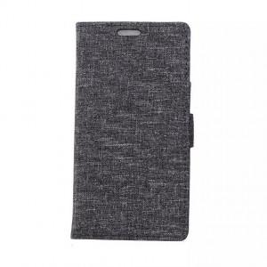 Чехол портмоне подставка на силиконовой основе с тканевым покрытием на магнитной защелке для Alcatel OneTouch Pop Up Серый