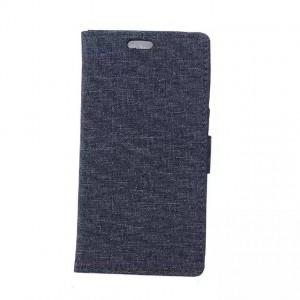 Чехол портмоне подставка на силиконовой основе с тканевым покрытием на магнитной защелке для Alcatel OneTouch Pop Up Черный