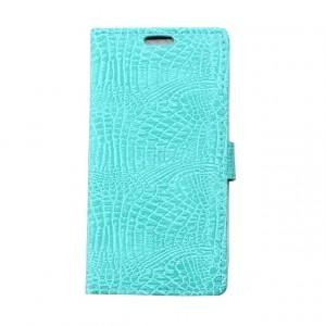 Чехол портмоне подставка текстура Крокодил на силиконовой основе на магнитной защелке для Alcatel OneTouch Pop Up Голубой
