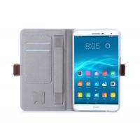 Чехол книжка подставка на полупрозрачной силиконовой основе с магнитной защелкой, отсеком для карт и поддержкой кисти для Huawei MediaPad T2 7.0 Pro  Черный
