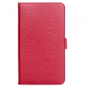 Чехол книжка подставка на полупрозрачной силиконовой основе с магнитной защелкой, отсеком для карт и поддержкой кисти для Huawei MediaPad T2 7.0 Pro  Красный