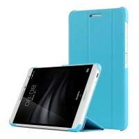 Сегментарный чехол книжка подставка на непрозрачной поликарбонатной основе для Huawei MediaPad T2 7.0 Pro Голубой