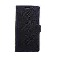 Чехол портмоне подставка текстура Крокодил на силиконовой основе на магнитной защелке для HTC Desire 830 Черный