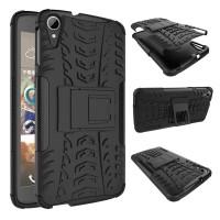 Противоударный двухкомпонентный силиконовый матовый непрозрачный чехол с поликарбонатными вставками экстрим защиты с встроенной ножкой-подставкой для HTC Desire 828  Черный