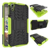 Противоударный двухкомпонентный силиконовый матовый непрозрачный чехол с поликарбонатными вставками экстрим защиты с встроенной ножкой-подставкой для HTC Desire 828  Зеленый