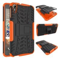 Противоударный двухкомпонентный силиконовый матовый непрозрачный чехол с поликарбонатными вставками экстрим защиты с встроенной ножкой-подставкой для HTC Desire 828  Оранжевый