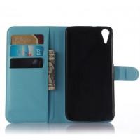 Чехол портмоне подставка на пластиковой основе на магнитной защелке для HTC Desire 828  Черный