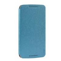 Чехол горизонтальная книжка на пластиковой основе на присосках для HTC Desire 828 Голубой