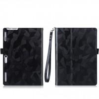 Чехол книжка подставка текстура Узоры с рамочной защитой экрана, крепежом для стилуса и поддержкой кисти для Lenovo Tab 2 A10-30 Черный