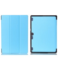 Сегментарный чехол книжка подставка на непрозрачной поликарбонатной основе для Lenovo Tab 2 A10-30  Голубой