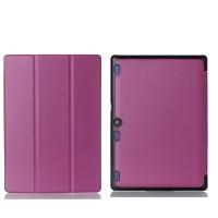 Сегментарный чехол книжка подставка на непрозрачной поликарбонатной основе для Lenovo Tab 2 A10-30  Фиолетовый