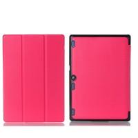 Сегментарный чехол книжка подставка на непрозрачной поликарбонатной основе для Lenovo Tab 2 A10-30  Пурпурный