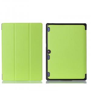 Сегментарный чехол книжка подставка на непрозрачной поликарбонатной основе для Lenovo Tab 2 A10-30  Зеленый