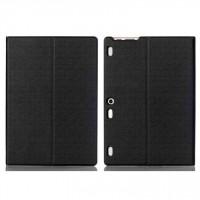 Чехол книжка подставка на непрозрачной поликарбонатной основе текстура Металлик для Lenovo Tab 2 A10-30  Черный