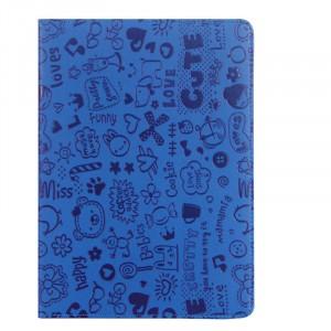 Чехол книжка подставка текстура Узоры с рамочной защитой экрана для Lenovo Tab 2 A10-30  Синий