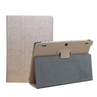 Чехол книжка подставка с рамочной защитой экрана текстура Золото для Lenovo Tab 2 A10-30 Бежевый