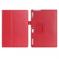 Чехол книжка подставка с рамочной защитой экрана, крепежом для стилуса, отсеком для карт и поддержкой кисти для Lenovo Tab 2 A10-30  Красный
