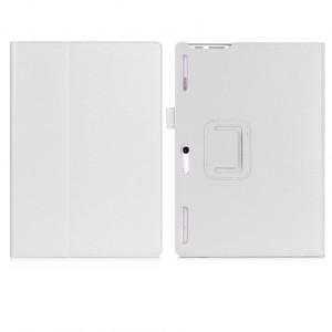 Чехол книжка подставка с рамочной защитой экрана, крепежом для стилуса, отсеком для карт и поддержкой кисти для Lenovo Tab 2 A10-30  Белый