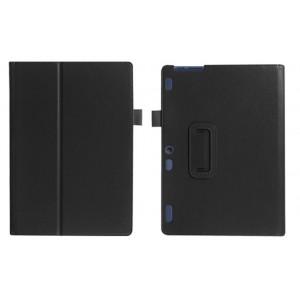 Чехол книжка подставка с рамочной защитой экрана и крепежом для стилуса для Lenovo Tab 2 A10-30/Tab 10 TB-X103F Черный