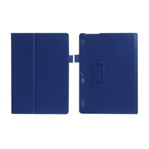 Чехол книжка подставка с рамочной защитой экрана и крепежом для стилуса для Lenovo Tab 2 A10-30/Tab 10 TB-X103F Синий