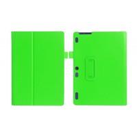 Чехол книжка подставка с рамочной защитой экрана и крепежом для стилуса для Lenovo Tab 2 A10-30  Зеленый