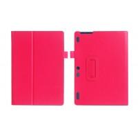 Чехол книжка подставка с рамочной защитой экрана и крепежом для стилуса для Lenovo Tab 2 A10-30  Пурпурный