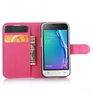 Чехол портмоне подставка на силиконовой основе на магнитной защелке для Samsung Galaxy J1 mini (2016)  Пурпурный
