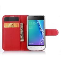 Чехол портмоне подставка на силиконовой основе на магнитной защелке для Samsung Galaxy J1 mini (2016)  Красный