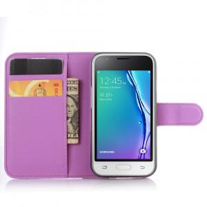 Чехол портмоне подставка на силиконовой основе на магнитной защелке для Samsung Galaxy J1 mini (2016)  Фиолетовый