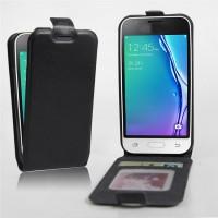 Чехол вертикальная книжка на силиконовой основе с отсеком для карт на магнитной защелке для Samsung Galaxy J1 mini (2016)  Черный